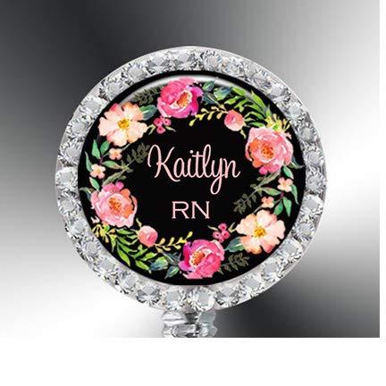 Nurse Badge Reel, Badge Reel, Stethoscope ID tag, Rhinestones, Kaitlyn Badge, Kaitlyn Reel, ID Badge Holder, Floral, Retractable ID Reel, Personalized ID Reel- 044