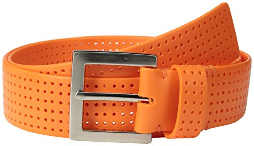 PGA TOUR Men's Perforated Fashion Color Silicone Belt, Orange, ()