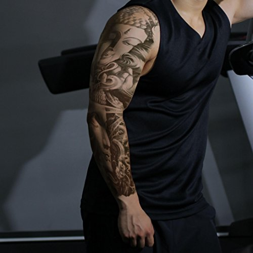 Fashion Temporary Tattoo Transfer Stickers - 8 Sheets Large Size Tattoo Body Stickers for Man & Women Waterproof Removeable Non-Toxics & Safe for All Skin (Full Arm Set.2) by N-Green (Image #3)