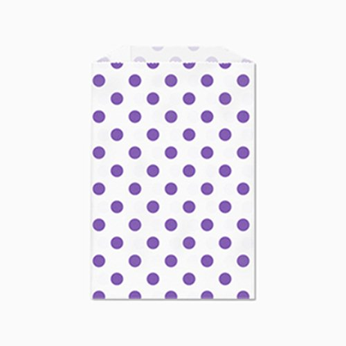 25 Purple Polka Dots on White Middy Bitty Paper Bags 5 X 7 1/2 Inches