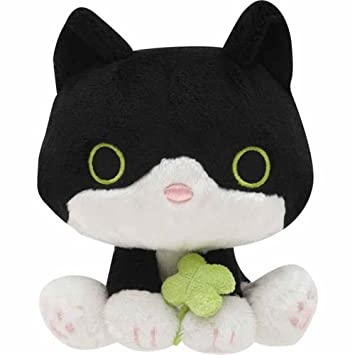 Amazon.com: cute black white cat green clover plush toy San ...