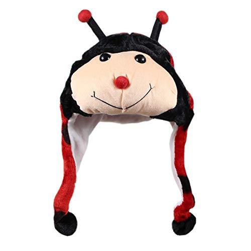 NYKKOLA Plush Faux Fur Animal Critter Hat Cap, Soft Warm Winter Headwear Fun Cute Beanie Hat Polyester Fleece Lining (Ladybug) -