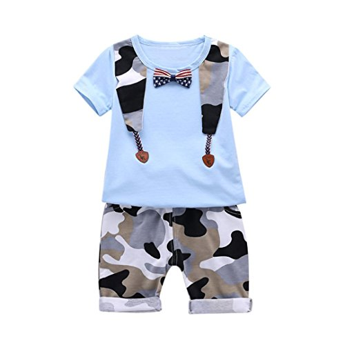 FEITONG Infant Baby Boys Star Striped Bow Tie T Shirt +Camouflage Short Pant Set Outfits (Blue, 6-12M) Christmas Tree Pin Book