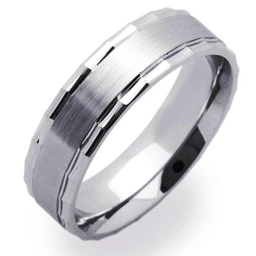14K White Gold 5mm Satin Finish & Designed Edged Wedding Band (Size 5 to 12), (Mens 14k White Gold Designed)