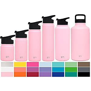 Simple Modern 32oz Summit Water Bottle + Extra Lid - Vacuum Insulated Stainless Steel Wide Mouth Thermos Liter Hydro Travel Mug - Powder Coated Football Flask - Blush Red