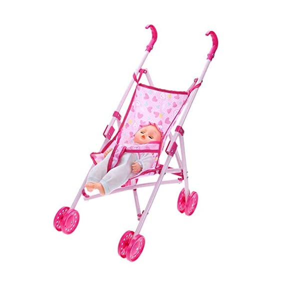 Munchkin Land Doll Set with Pram Stroller with Milk Bottle - Assorted Colours
