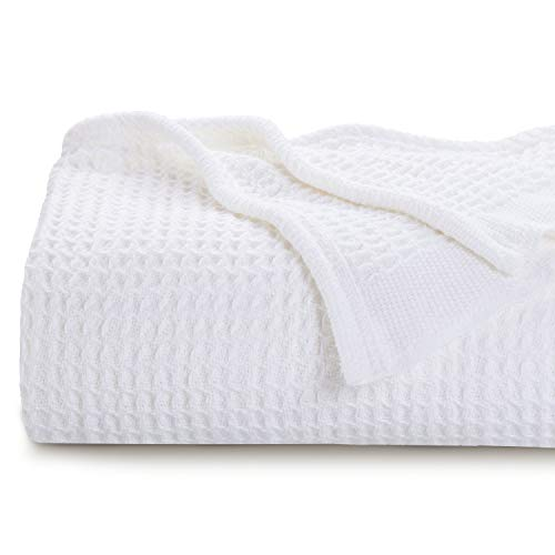 Bedsure 100% Cotton Thermal Blanket - 405GSM Soft Blanket in Waffle Weave for Home Decoration - Perfect for Layering Any Bed for All-Season - Queen Size (90 x 90 inches), White (Blankets White)