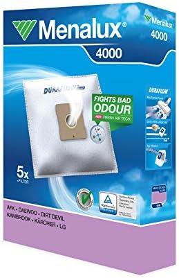 Menalux 4000 Paquete de 5 bolsas y 1 filtro para aspiradores AEG, Daewoo, Dirt Devil, Kambrook, Kärcher y LG, Papel: Amazon.es: Hogar