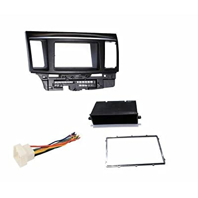 Aftermarket Radio Double Din Dash Installation Install Kit + Wire Harness Compatible with Mitsubishi Lancer / Lancer Evolution (2007 - 2020)