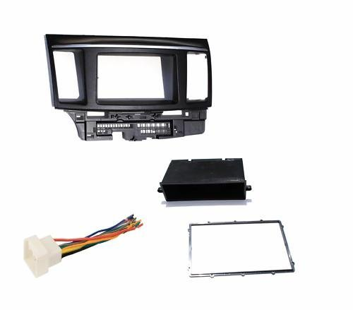 Mitsubishi Lancer / Lancer Evolution (2007 2008 2009 2010 2011 2012) Aftermarket Radio Stereo Double Din Dash Installation Install Kit + Wire Harness ()