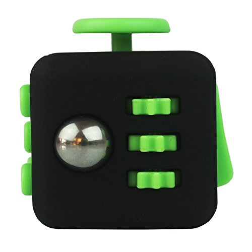 Oliasports Anxiety Attention Toy Spinner Fidget Cube for Children and Adults, 1 Piece, Black Green -