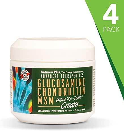 NaturesPlus Advanced Therapeutics Glucosamine Chondroitin MSM Ultra Rx-Joint Cream (4 Pack) - 4 oz Jar - High Potency Joint Support Cream - Greaseless - Penetrating Action - 16 Total ozs