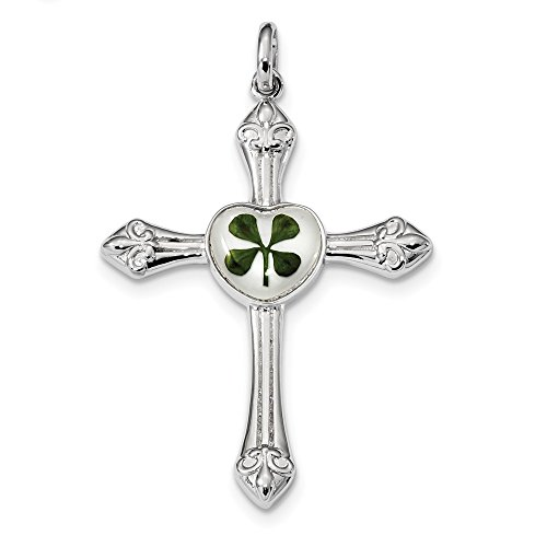 925 Sterling Silver Plat. Plated Real Clover Epoxy Sea Shell Mermaid Nautical Jewelry Cross Religious Pendant Charm Necklace Good Luck Italian Horn Passion Fine Jewelry Gifts For Women For Her