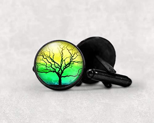 Yellow Green Tree of Life Cufflinks Handmade 16mm Gunmetal Black