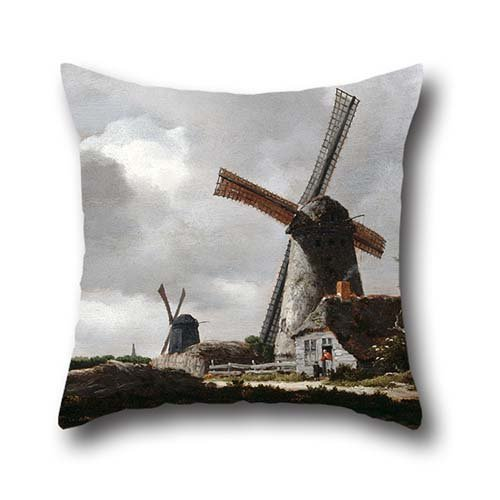 Oil Painting Van Ruisdael, Jacob - Landscape With Windmills Near Haarlem Pillow Cases 16 X 16 Inch / 40 By 40 Cm For Play Room,dance Room,pub,indoor,gf,boy Friend With Both Sides ()