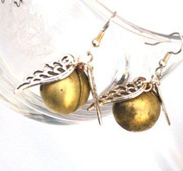Harry Potter Steampunk Golden Snitch Locket Earrings