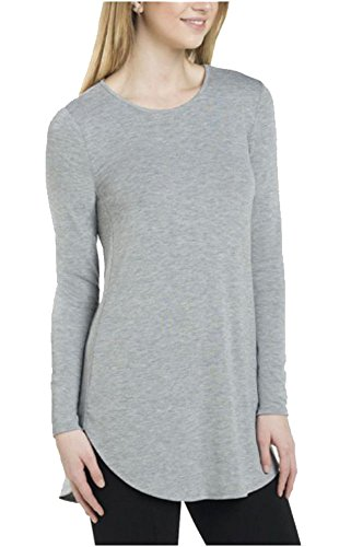 - Joan Vass Ladies Long Sleeve Tunic (Small, Grey)