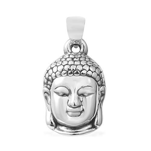 925 Sterling Silver Unisex Meditation Fortune Tibetan Buddha Head Charm locket Prayer Religious Pendant