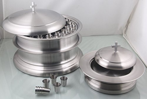 Communion Base - Holy Communion Wine Tray set of 2 with base with Lid & 1 stacking Bread Plate Set - Stainless Steel- Mayur Exports + 80 cups