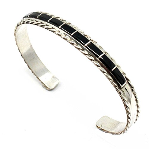 L7 Enterprises Zuni Sterling Silver Channel Inlay Jet Bracelet | Fits A Wrist of Up to 6.5