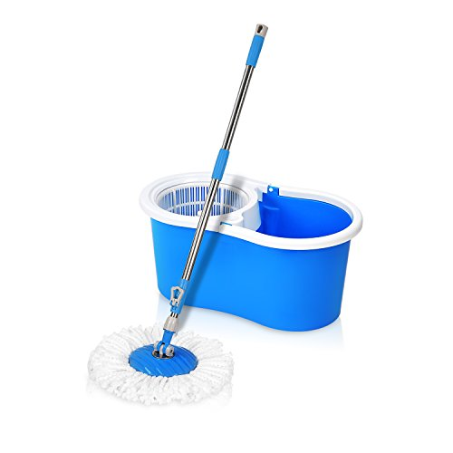 Hapinnex Easy Spin 360° Press Mop Bucket Set - Push & Pull Rotation - Liquid Drain Hole - Easy Wring with Reusable Mop Heads - Non Pedal Press Wring Bucket