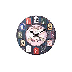 Konigswerk 12 Inch Wooden Wall Clock - Silent Non Ticking Wall Clocks Large Decorative - Quality Quartz Battery Operated - Antique Vintage Rustic Colorful Tuscan Country Style (Grape)
