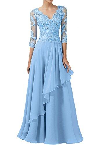 Spitze Blau Schwarz Charmant Rock Lang Chiffon Damen Weiss Linie A Abendkleider Brautmutterkleider Elegant rqqHI7nwp