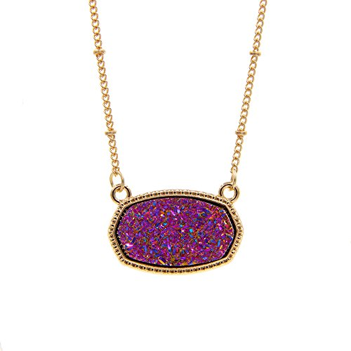 YUJIAXU Sparkling Faux Druzy Oval Pendent Short Necklace for Wedding Gift Jewelry (Gold + Purple Drusy) ()