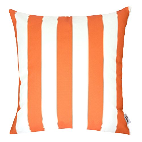 Homey Cozy Outdoor Throw Pillow Cover, Classic Stripe Orange Large Pillow Cushion Water/UV Fade/Stain-Resistance For Patio Lawn Couch Sofa Lounge 20x20, Cover Only