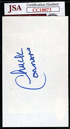 CHUCK CONNORS JSA COA Autograph 3x5 Index Card Hand Signed Authentic