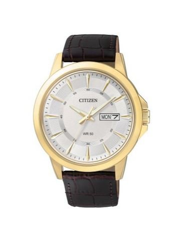 Citizen BF2018-01A Quartz Mens Day/Date Strap Watch - Gold-Tone Case - White Dial