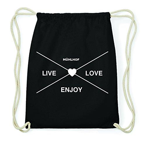 JOllify MÜHLHOF Hipster Turnbeutel Tasche Rucksack aus Baumwolle - Farbe: schwarz Design: Hipster Kreuz