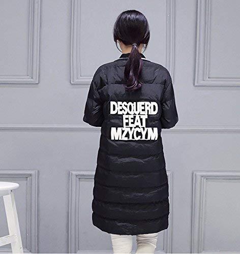 Laterali Trench Piumini Schwarz Coreana Giacca Lunga Abbigliamento Collo Moda Donna Giubotto Manica Cappuccio Invernali Giovane Con Tasche Cerniera Tqq1rp