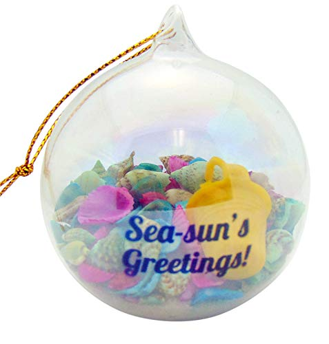 (Sea-Suns Greetings Natural Sand Art Glass Ornament Beach Christmas Tree Home Decoration)
