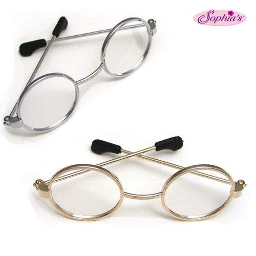 Sophia's Doll Eyeglasses Set for 18 Inch American Girl Dolls, 1 Pair Gold Doll Eyeglasses & 1 Pair Silver Doll Eyeglasses - Set of Gold & Silver Doll Glasses from Sophia's