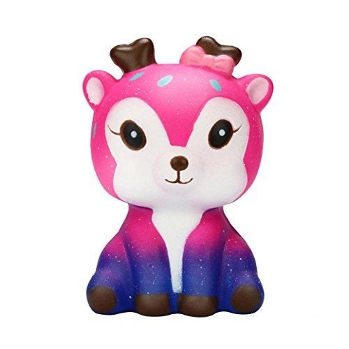 Outsta Kawaii Cartoon Galaxy Deer Squishy Toy,Slow Rising Cream Scented Stress Reliever Toy (Pink)