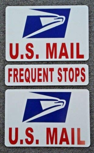 Flexible Magnets (2) U.S. Mail Magnetic Signs USPS 8х12 Plus (1) Frequent Stops 3x12