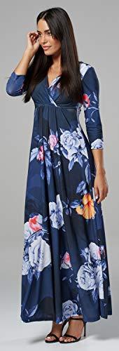 Kleid Style Seidig Länge Maxi Chelsea V Clark 7 Damen 586z Wickeln Blumen Ausschnitt qx0S4