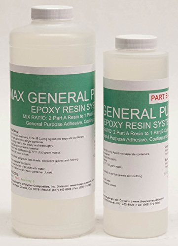 MAX GENERAL PURPOSE GRADE Epoxy Resin System - 48 Ounce Kit - Adhesive, Coating, Wood Sealing, Arts & Crafts, Hobby Casting and Fiberglassing