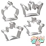 Amison Crown Cookie Cutters Set - 4 Piece - King Crown, Queen Crown, Prince Crown and Princess Crown - Stainless Steel by