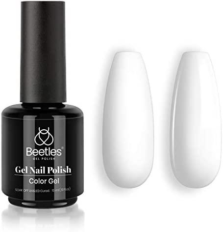 Beetles Gel Nail Polish, 1 Pcs 15ml Marilyn White Color Soak Off Gel Polish Nail Art Manicure Salon DIY at Home