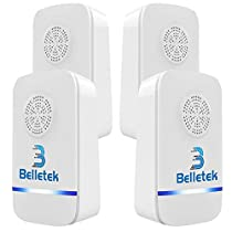 Belletek Pest Control Ultrasonic Repeller Mosquitoes- Safe Children Pets - Quickly Eliminates Flies, Cockroaches, Spiders, Fleas, Mice, Rats (Pack of 4)