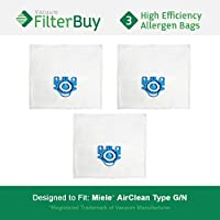 3 - FilterBuy Miele GN Replacement Vacuum Bags. Miele Parts #'s 7189520 & 10123210. Designed by FilterBuy to replace Miele AirClean GN Vacuum Bags