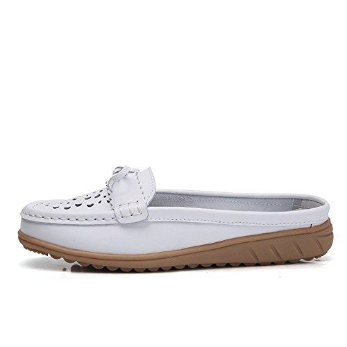 Vilocy Femmes Creux En Cuir Paresseux Mocassins Paresseux Appartements Slip Sur Mules Chaussures Marche Pantoufle Blanc