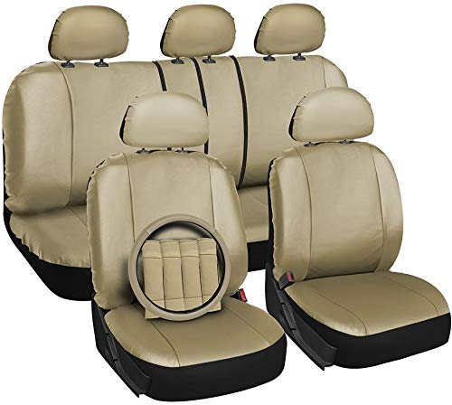 Motorup America Leather Auto Seat Cover Full Set - Fits Select Vehicles Car Truck Van SUV - Beige