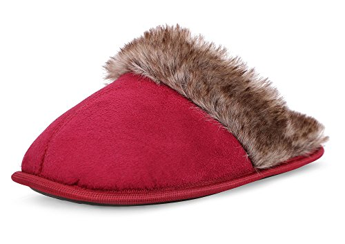 Women's Plush Rubber-Soled Sherpa Lined House Slippers, Burgundy M/L(8-9) (House Sherpa)