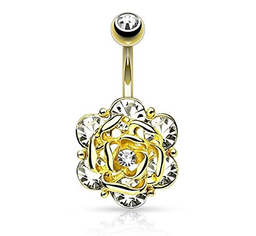 Jewels Fashion Flower Head with Gems CZ 316L 14GA Navel Belly Ring - Choose Silver Tone, Gold Tone, or Rose Gold Tone (Yellow Gold Tone) (16 Gem Dangle Gauge)