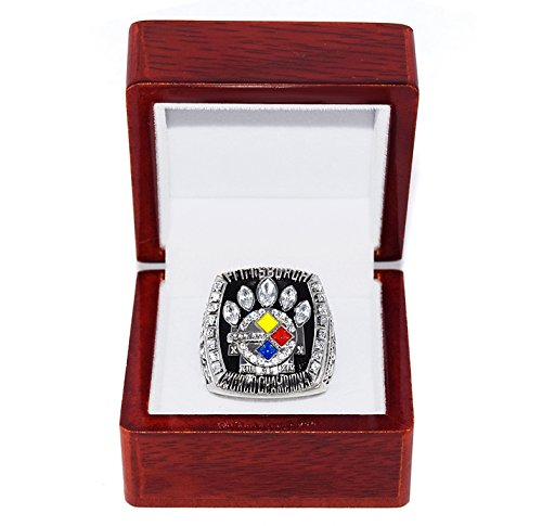 PITTSBURGH STEELERS (Kalvin Jones) 2005 SUPER BOWL XL WORLD CHAMPIONS Rare & Collectible High-Quality Replica NFL Football Silver Championship Ring with Cherrywood Display Box Trackside Autographs
