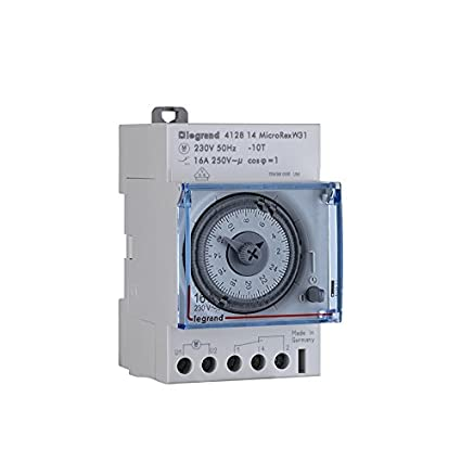 412812 Zeitschaltuhr MicroRex T31 Reiheneinbau-Zeitschaltuhr f/ür Hutschiene, 3-modulig Legrand mechanisch mit 24 Stunden-Programm
