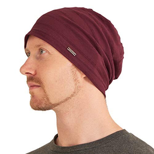 (Womens Light Weight Summer Beanie - Mens Slouchy Beanie Hat Stretchy Slouch Knit Cap 100% Cotton Chemo Hat Burgundy)